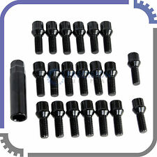 20pc BMW Wheel Lock Kit Spline Lug Bolts 12x1.5 | 25mm Shank 60° Cone Seat Black