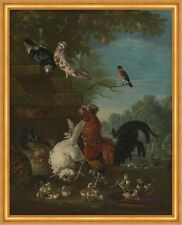 Domestic cock, hens, and chicks in a park Pieter Casteels III Vögel B A2 03126