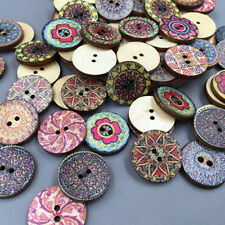 100x Mixed Fashion Colorful Flowers Wood Buttons Scrapbooking Sewing Craft 20mm