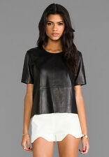MASON BY MICHELLE MASON BLACK LEATHER TEE TOP SIZE 2 UK 8