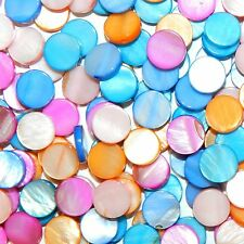 MPX9911 Assorted Bright Color 10mm Flat Round Mother of Pearl Shell Bead 160/pkg
