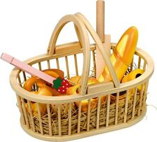 Wooden Picnic Basket Set Bread Cake Cutting Food Role Play Toy Fun Pretend Play