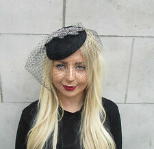 Black Dark Silver Grey Bead Birdcage Veil Statement Fascinator Pillbox Hat 2309