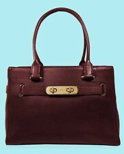 COACH 36488 SWAGGER CARRYALL Oxblood In Pebble Leather Tote Bag  Msrp $395.00