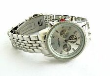 Geneva Silver Color Bracelet Foldover Clasp Decorative Dials Women Wrist Watch