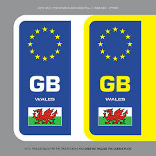 SKU1109 2 x Wales Flag GB Euro Number Plate Stickers EU European Road Vinyl
