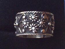 Vintage sterling silver wide band ring Taxco floral signed UK K.5 US 5 3/8 3.1g