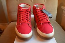 ALEXANDER MCQUEEN PUMA RED CANVAS LEATHER FORMULA ONE RABBLE MID TOP SNEAKERS 44