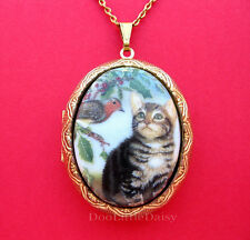 Porcelain GRAY TABBY CAT & ROBIN CAMEO Costume Jewelry Locket Pendant Necklace