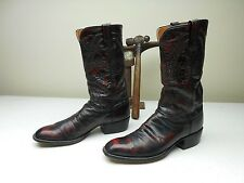 VTG LUCCHESE BLACK CHERRY MADE IN SAN ANTONIO COUNTRY WESTERN COWBOY BOOT 10.5B