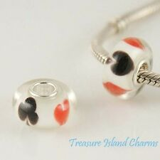 PLAYING CARD SUITS GAMBLING MURANO GLASS 925 Sterling Silver EUROPEAN Bead Charm