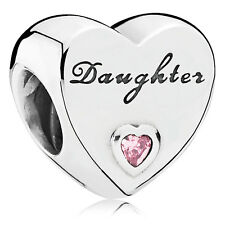 Authentic Pandora Charm Sterling Silver 791726PCZ Daughther's Love, pink cz