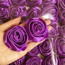 12PC Purple 50mm Satin Ribbon Rose Flower DIY Wedding Bouquet 2""