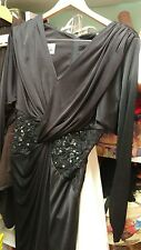 TADASHI VINTAGE 80's Perfectly Draped Black Sparkled Hourglass Cocktail Dress