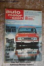 AMS Auto Motor Sport 12/68 Ford 20 M RS Fiat 850 Special BMW 2000