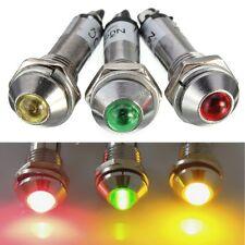 3 x 8mm CRUSCOTTO LAMPADINA Pannello Led Indicatore DC12V Rosso + Giallo + Verde