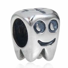 TOOTH SMILE DENTIST Solid 925 Sterling Silver charm bead fits European bracelet