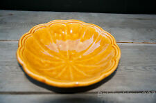 French Vintage Provence Ribbed Small Bowl Yellow Glazed Terracotta Signed Ravel
