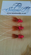 "3x Red Frances 1/4"" TungstenTube Salmon Fishing Flies"