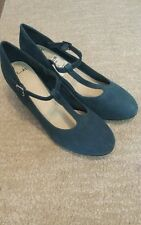 NEW WITHOUT BOX CLARKS WOMEN BIANCA NAVY TEAL T-BAR SHOES SIZE 5