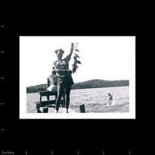 Old Vintage Photo BLACK AFRICAN AMERICAN WOMAN HOLDING FISH BY LAKE