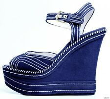 new $590 MIU MIU PRADA resort open-toe navy platfroms WEDGES shoes 40.5 10.5