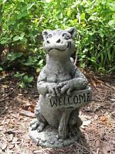 Little Darling Dragon 'Grinsey'-stone-baby animal-garden statue w/ welcome sign
