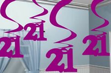 21st Birthday Pink Hanging Foil Swirls Decorations