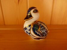 Royal Crown Derby Sitting Duck Paperweight with Gold Stopper