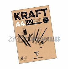 CLAIREFONTAINE A4 BROWN TEXTURED KRAFT PAPER ARTIST PAD 100 SHEETS 90GSM 96545C