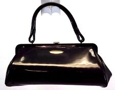 Aetna Vintage Frame Handbag, Satchel Bag Purse, Black Patent Leather Made in USA