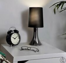 2 X MiniSun Chrome / Black | Touch Activated Bedside Table Light Lamp