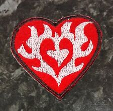 Sew Iron On Applique Embroidered Patch Motifs Tattoo Flames Red Heart 5.4cm