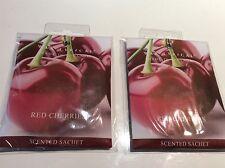 Nuevo Y En Caja Nuevo Cera lírica 2 x sachet Rojo Cerezas Fragancia Perfumado
