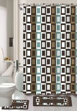 4PC SHOWER CURTAIN BATHROOM SET BATH MAT BANDED RINGS BROWN BLUE SQUARES J4