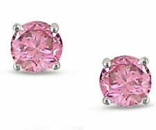 1 ct. Pink Created Sapphire Stud Earrings ~ Solid Sterling Silver ~ Gift box