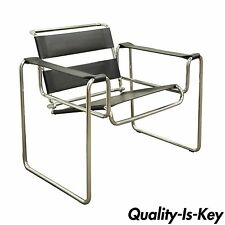 Vintage Mid Century Modern Breuer Wassily Style Chrome Leather Lounge Arm Chair