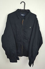 VTG RETRO MENS ATHLETIC SPORTS BLACK RALPH LAUREN POLO BOMBER JACKET VGC UK 2XL