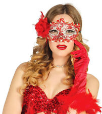 LADIES RED MASK & ROSE SPANISH MASQUERADE BALL DELUXE VENICE FANCY DRESS EYEMASK