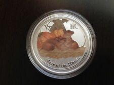 2008 Australia Lunar Mouse 50c 1/2oz .999 Pure Silver Colorized Bullion Coin
