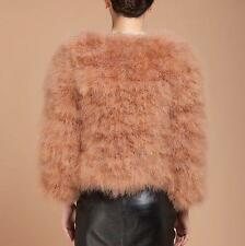 Women Winter Warm  Real Fur Ostrich Feather WaistCoat Jacket Outwear Coat@