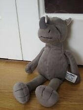 "RUSS STANDARD GREY RHINO 14"" PLUSH SOFT BEANIE TOY ANIMAL"