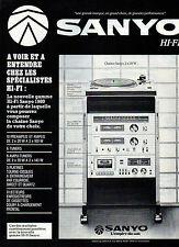 Publicité 1979  SANYO  Chaine hi-fi platine tourne-disque tuner ampli lecteur