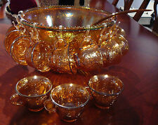 vtg INDIANA HARVEST GRAPE IRIDESCENT MARIGOLD CARNIVAL GLASS PUNCH BOWL SET
