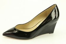 $298 NEW DVF Diane von Furstenberg Park Black Leather Wedge Pumps V770415BLSFI
