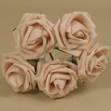 5 x 4cm Dia Open Roses Vintage Peach Colourfast Foam Artificial Wedding Flowers