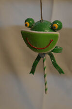Green Frog Candy Striped Lollipop Christmas Tree Ornament new