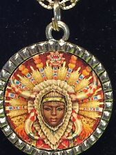 "African Woman Headress Charm Tibetan Silver with 18"" Necklace AW1"