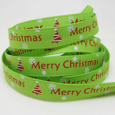 Free Shipping 5 Yards 3/8''10mm Merry Christmas Grosgrain Ribbon R74