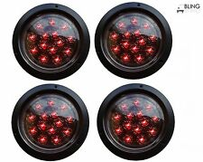 """4 RED ROUND 5"""" Flush Mount STOP TURN LED LIGHT TRUCK TRAILER CLEAR LENS 14 Diode"""